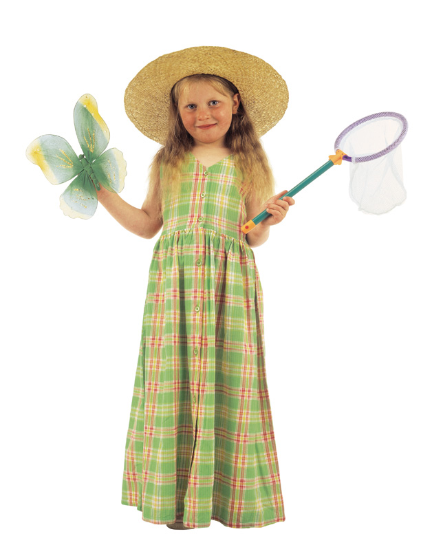 Picture of a girl holding a butterfly and a net.